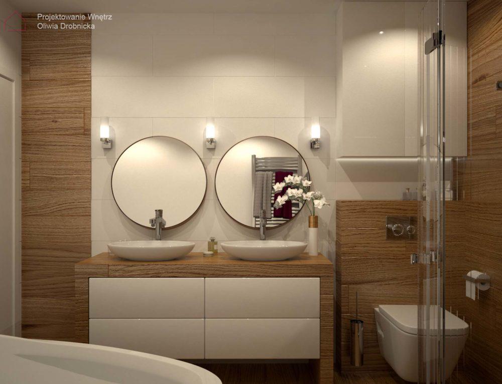 Projekt łazienki w bieli i drewnie