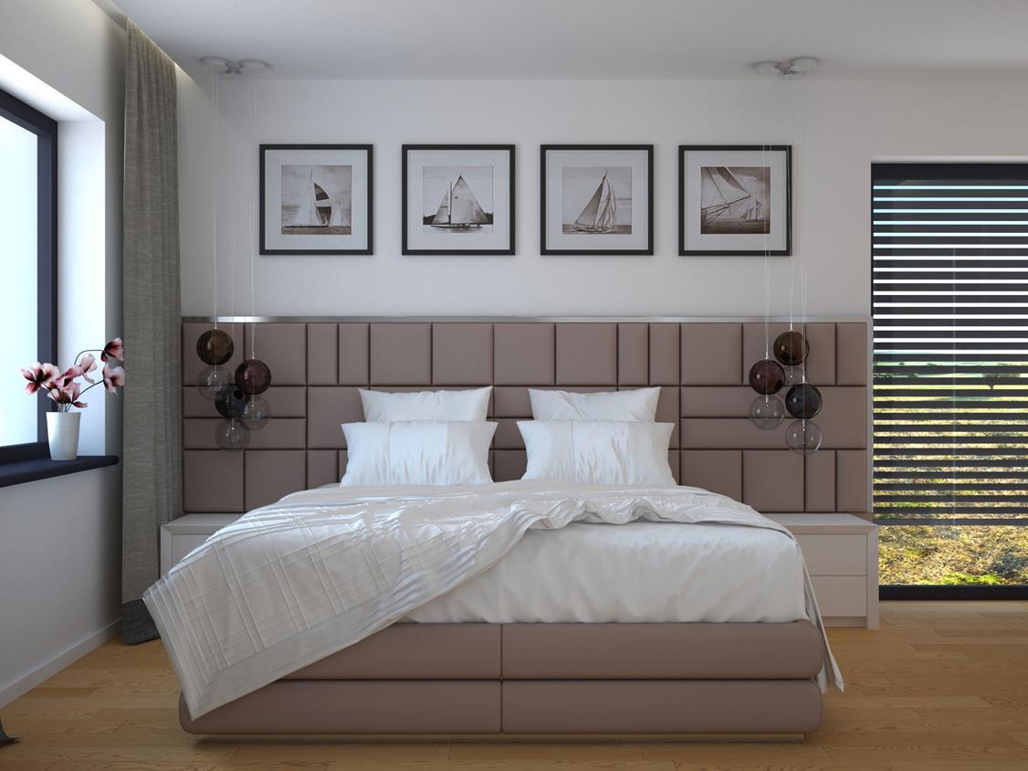 wygodne łóżko przy ścianie