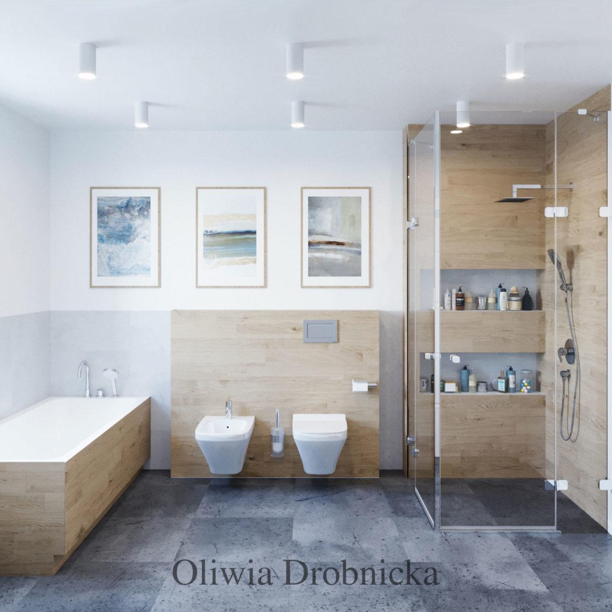 Duża łazienka W Szarościach Architekt Wnętrz Oliwia Drobnicka
