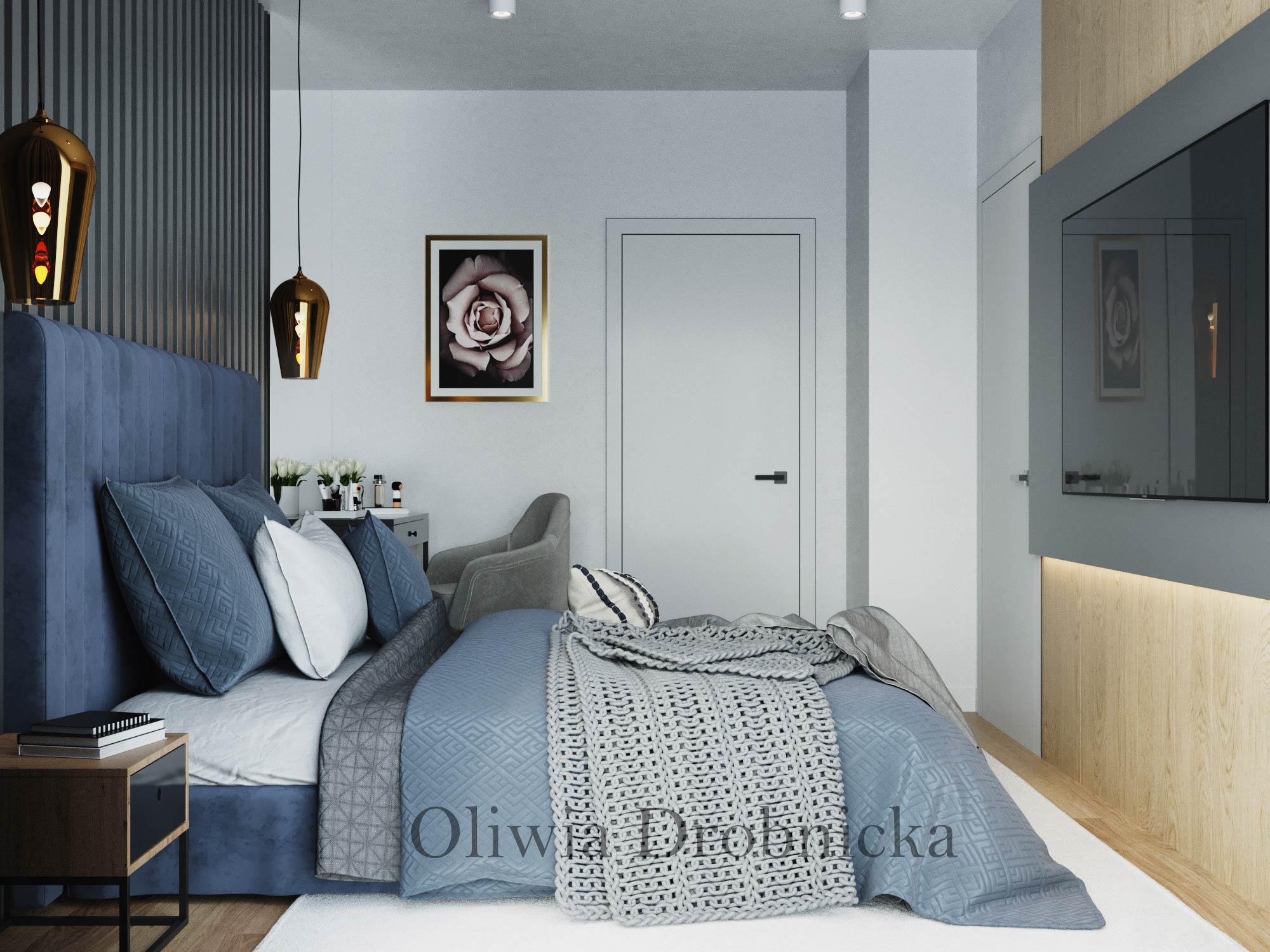 Piękna sypialnia w granacie