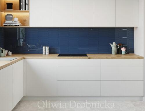 Projekt kuchni z niebieskim akcentem