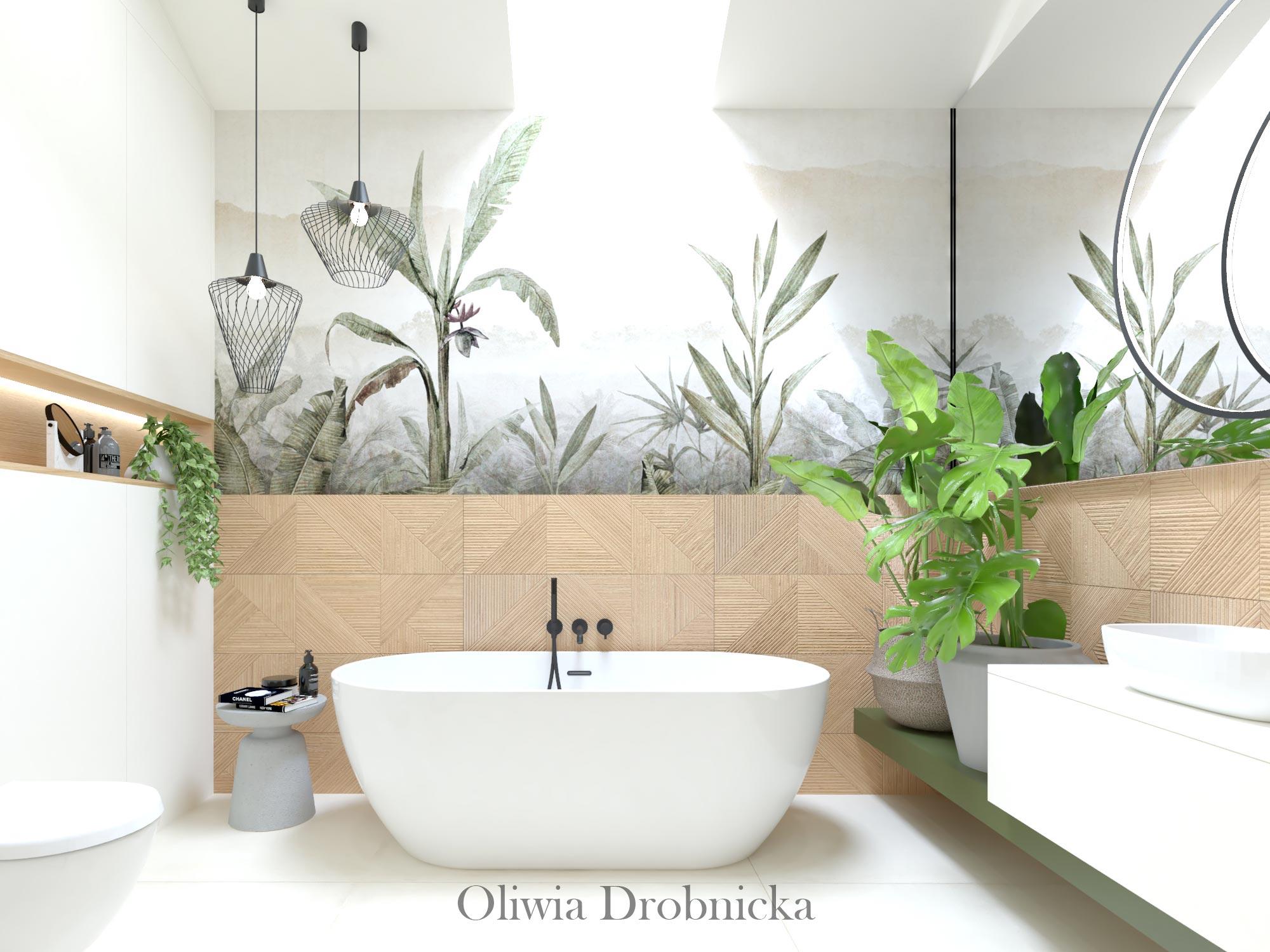 Łazienka z motywem roślinnym